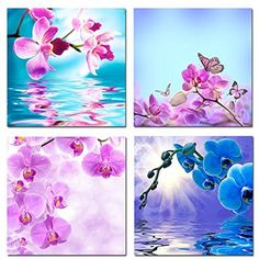 Framed Orchid Flowers Butterfly Modern Canvas Art Print Picture Wall Home Decor #HelloArtwork #Expressionism