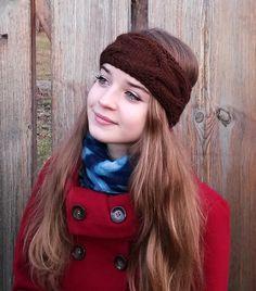 Pletená čelenka s copy - tmavě hnědá   Zboží prodejce Švambi74 8e608aebf0