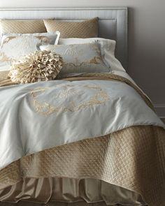 """""""Clarissa"""" Bed Linens by Callisto Home at Horchow.  Not enough blue - but look at the headboard"""