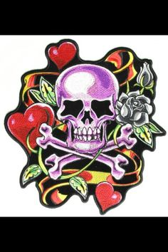 Flaming dice Tattoo Inc Iron on appliques 11 pcs Hearts Eagle