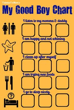 Tater Tot Thursday: Good Boy Sticker Sheet - Life As We Know It with Two Twinkies and a Tater Tot Good Behavior Chart, Behaviour Chart, Behavior Sticker Chart, Behavior Log, Toddler Chart, Toddler Behavior, Toddler Discipline, Toddler Age, Charts For Kids