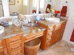 Multi-height bathroom countertop vanity and ADA vanity