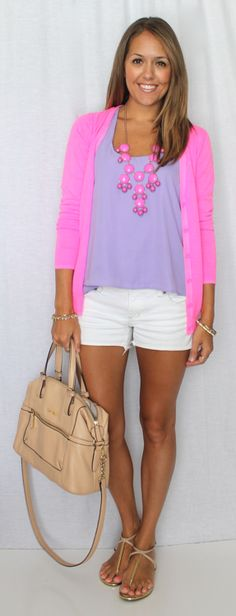 Fashion: Cute Casual Outfit; Hot Pink Sweater, Purple Top, and White Shorts with a Pink and Purple Statement Necklace