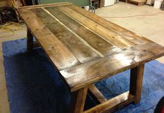 Pete shows how he built his rustic farm table. Learn how to finish a table using steel wool and vinegar to distress and give the wood an aged look. Farm Table Plans, Build A Farmhouse Table, Farmhouse Kitchen Tables, Farm Tables, Wood Tables, Farmhouse Chic, Dining Tables, Side Tables, Coffee Tables