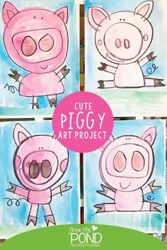 Love this cute guided art lesson featuring a happy piggy! Would make a fun art project for elementary ages school kids!
