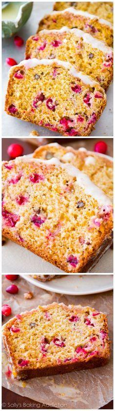 Super-moist cranberry bread with orange zest, orange glaze, and sweet streusel on top! No mixer required! Recipe on http://sallysbakingaddiction.com