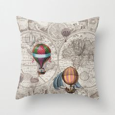 Hot Air Balloon Pillow Throw Pillow maps steampunk by Mapology