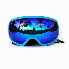 b2cd0af90c99 Copozz Multicolor Professional Snowmobile Snowboard Skate Ski Goggles with  Detachable Wide Vision Double Lens Anti-fog Extra-large Spherical Lens  (Lake ...