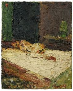 painting by Frank Auerbach entitled E., Nude on Bed Frank Auerbach, Bad Painting, Figure Painting, Neo Expressionism, Irish Art, English Artists, Royal College Of Art, Portraits, Life Drawing