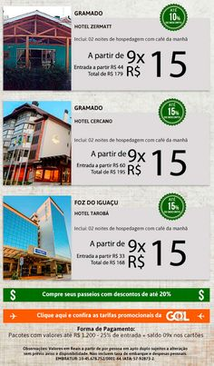 Hospedagem em Gramado-RS e Foz do Iguaçu-PR com preços especiais. Aproveite. Incentivar é crescer!