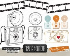 Vintage Camera Vector Clip Art #vintage #camera #clipart