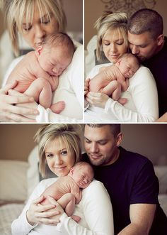 Newborn posing with parents