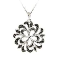 DB Designs Sterling Silver Black Diamond Accent Swirl Flower Necklace