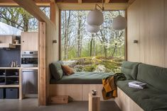 A Frame Cabin, A Frame House, Summer House Interiors, Backyard Guest Houses, Arched Cabin, Plywood Interior, Tiny House Living, Tiny House Plans, House Roof