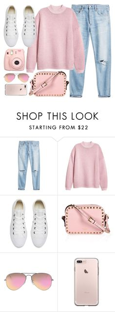 """""""Casual"""" by monmondefou ❤ liked on Polyvore featuring Converse, Ray-Ban, Fujifilm and Pink"""