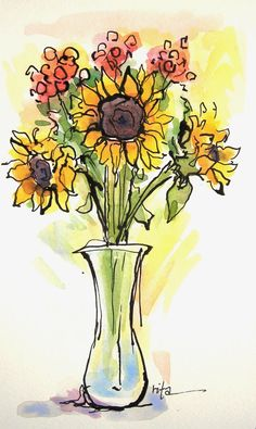 Sketchbook wandering: gift of sunflowers watercolor journal, watercolor and ink, watercolor pencils, Watercolor Journal, Watercolor Projects, Pen And Watercolor, Watercolor Paintings, Watercolors, Watercolor Pencils, Simple Watercolor, Watercolor Artists, Watercolor Portraits