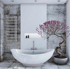 badeinrichtung beton wandgestaltung badezimmer ideen bilder naturhaft baum