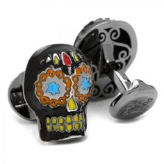 Day of the Dead Black Skull Cufflinks Ox and Bull