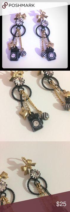 Betsey Johnson Camera Drop Earrings Betsey Johnson drop earrings. Camera emblem at bottom. All crystals attached. Betsey Johnson Jewelry Earrings
