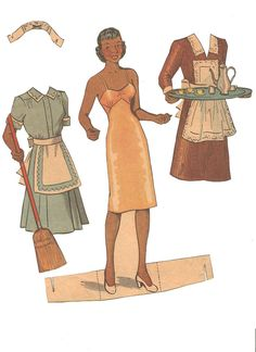 two different maid's uniforms for Miss Missy Paper Dolls: newspaper paper dolls - I think this is a Paper Playhouse 1940's