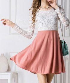 Sweet Scoop Collar Long Sleeve Color Block See-Through Women's Dress