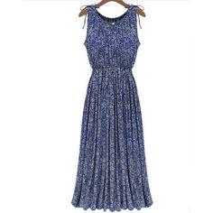 2016 Summer Fashion Wome O-Neck Sleeveless Long Dress Vintage Boho Floral Printed Elastic Waist