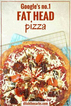 This is THE Fat Head pizza recipe, and it just got better - now with it's own quick cooking video. This is Google's number one low carb and keto pizza. Grain free, gluten free, wheat free heaven. | ditchthecarbs.com via @ditchthecarbs