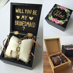Perfect way to pop the question to the bridesmaids! Custom hand-lettered & hand-painted box. Gilded Grace Designs