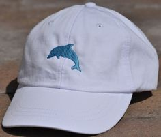 311932878d7 Dolphin Grace White Embroidered Baseball Cap Hat by CoastalCaps