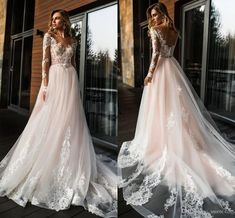 Discount Long Sleeves Light Pink Wedding Dresses Sheer Neck Illusion Bodice Appliques Lace Tulle Backless Wedding Gowns Bridal Dresses Chapel Train Be. Light Pink Wedding Dress, Sheer Wedding Dress, Pink Wedding Dresses, Backless Wedding, Wedding Dress Trends, Tulle Wedding, Bridal Lace, Bridal Dresses, Wedding Gowns