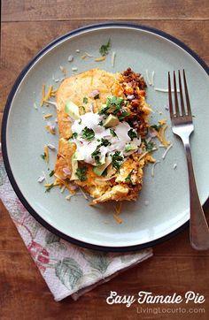 Easy Tamale Pie Mexican dish! A dinner recipe idea the whole family will love! LivingLocurto.com