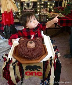 Lumberjack Birthday Party – Bear Cake and Buffalo Check Red Black Plaid Decorations (Cake Boy Bear) - Baby Boy First Birthday, Baby Boy Birthday, Boy Birthday Parties, Birthday Ideas, Cake Birthday, Birthday Wishes, Lumberjack Birthday Party, Lumberjack Cake, 1st Birthdays