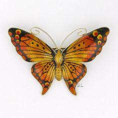 Large Art Deco Sterling Silver Enamel Butterfly PIn -JA 1918