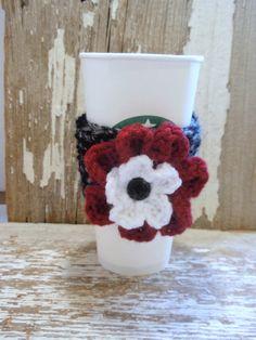 Licorice Twist with Crimson flower crocheted Coffee Sleeve or Tea COZY . . .Go Alabama