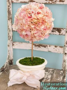DIY Flower Topiary & Michaels/Hometalk In-Person Pinterest Party! - Restoration Redoux