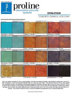 Dura-Stain acid stain color chart offered by Proline Decorative Concrete Systems.