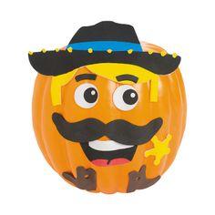 Cowboy Pumpkin Decorating Craft Kit - OrientalTrading.com
