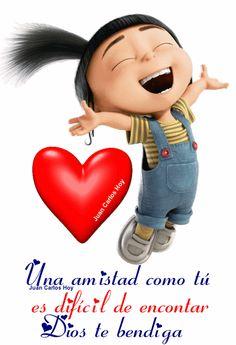 Gracias por compartir tu bella amistad - juan carlos hoy romero - Google+ Beautiful Love Pictures, Cute Love Gif, We Love Minions, Agnes Despicable Me, Hug Quotes, Emoji Images, Disney Gift, Sweet Pic, Motivational Phrases