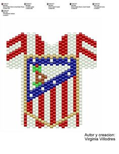 Camiseta Atletico Madrid | Flickr: Intercambio de fotos Peyote Stitch Patterns, Beading Patterns, 3d Origami, Gold Line, Pixel Art, Art For Kids, Cross Stitch, Sports, Logo