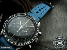 Omega Speedmaster on a blue Heuerville strap