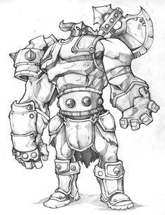 Warlord by thiago-almeida Cartoon Sketches, Cartoon Art, Drawing Sketches, Fantasy Character Design, Character Design Inspiration, Character Art, Cool Art Drawings, Disney Drawings, Eagle Cartoon