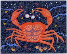 YAYOI KUSAMA  A-Crab, 2008 Acrylic on canvas 71 1/2 x 89 1/2 inches (181.6 x 227.3 cm)
