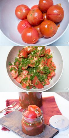 Quick and easy to prepare the most delicious marinated tomatoes. (Russian)