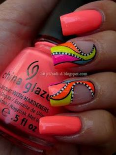 Summer Neons nail art!.