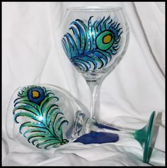 Unique Painted Wine Glasses | naples florida painted wine glasses peacock wine glasses wine glasses ...