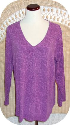 LANE BRYANT Womens Top Plus Size 18/20W Purple Paisley Long Sleeve Cotton  #LaneBryant #KnitTop #CareerCasual