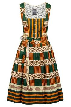Noh Nee Dirndl TÉRÉ with African Kente print in Green and Orange