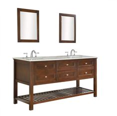 Add a touch of elegance in a mission style design with our exclusive 70 in Mission Double Bathroom Vanity Sink Console Double white square porcelain sinks are surrounded by Carrara white marble countertop Added with industry s first infinity under-mount convertible sinks US Utility Patent