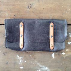 handmade grey leather jackson clutch / by elke