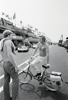 Steve McQueen Le Mans 1970. During filming for the movie Le Mans Steve McQueen got around on this bicycle.